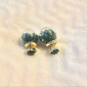 Jewelry - Unique Ball and Stud Emerald Green Earrings